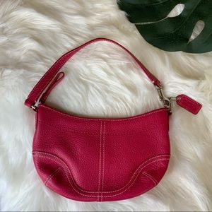 Coach Watermelon Pink Leather Mini Hobo Handbag